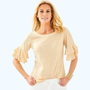 Lilly Pulitzer Lula Top Sand Dune/Gold Size Small